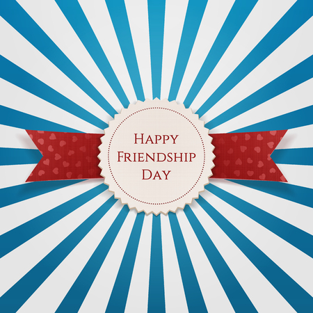 Happy Friendship Day Emblem with Ribbon. Vector Illustration