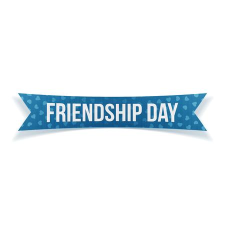 striped band: Friendship Day festive blue paper Label on white Background. Vector Illustration Illustration