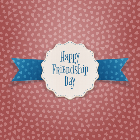 striped band: Friendship Day realistic Badge with Text and Ribbon. Vector Illustration