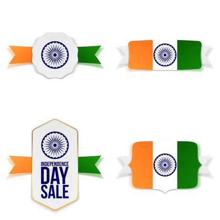 India Independence Day realistic Banners Set. Vector Illustration Illustration