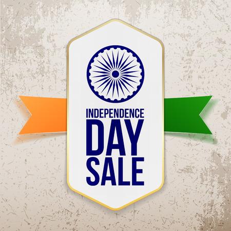 Día de la Independencia Etiqueta de la venta con la cinta. Ilustración del vector Ilustración de vector