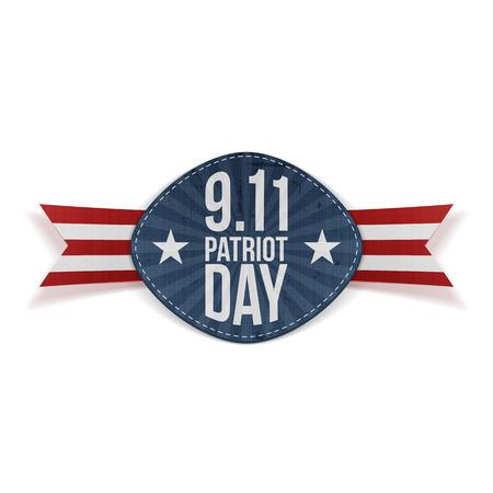 patriot: Patriot Day 9-11 Banner with Ribbon. Vector Illustration