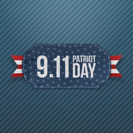 patriot: Patriot Day 9-11 realistic Emblem. Vector Illustration