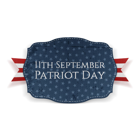 11th: 11th September. Patriot Day Banner with Ribbon. Vector Illustration