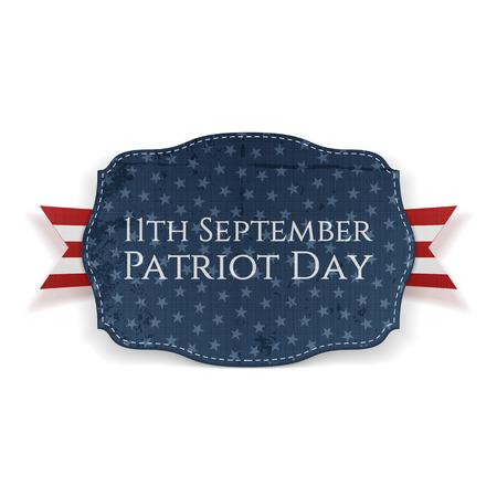 patriot: 11th September. Patriot Day Banner with Ribbon. Vector Illustration