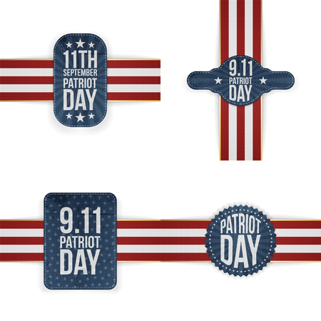 patriot: Patriot Day memorial Tags Collection. Vector Illustration Illustration