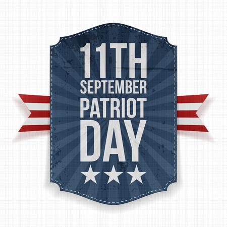 11th: September 11th Patriot Day paper Label. Vector Illustration
