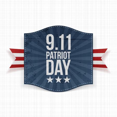 eleventh: Eleventh September Patriot Day national Label. Vector Illustration Illustration