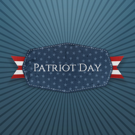 patriot: Patriot Day Text on Badge with Ribbon. Vector Illustration