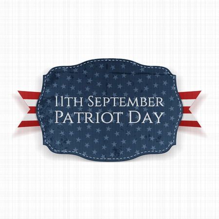 11th: Patriot Day - 11th September Label with Ribbon. Vector Illustration
