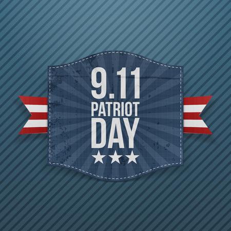eleventh: Eleventh September Patriot Day national Emblem. Vector Illustration