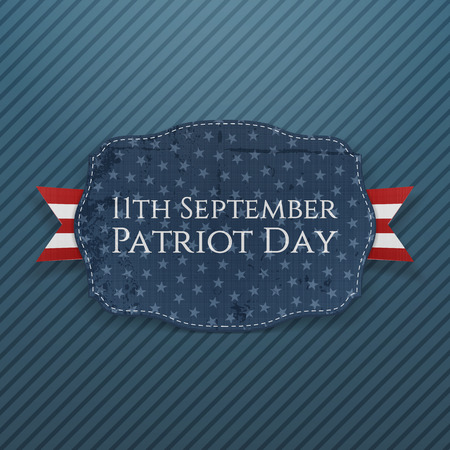 11th: Patriot Day - 11th September Emblem with Ribbon. Vector Illustration