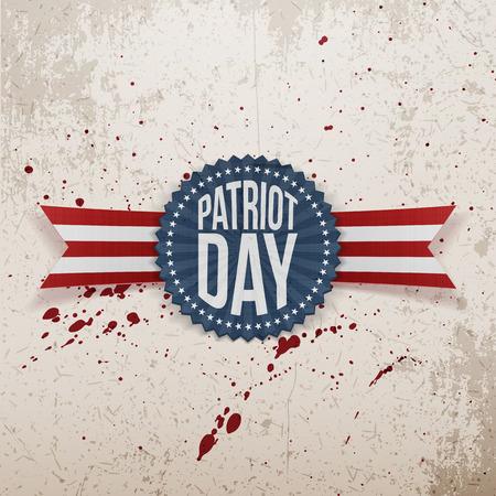 patriot: Patriot Day memorial realistic Tag. Vector Illustration