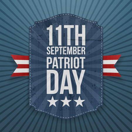 11th: September 11th Patriot Day paper Badge. Vector Illustration