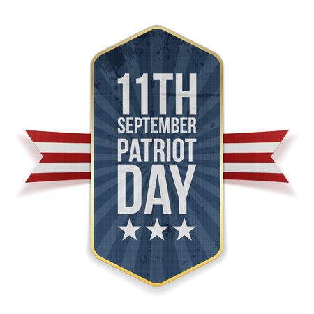 eleventh: Eleventh September. Patriot Day Banner with Ribbon