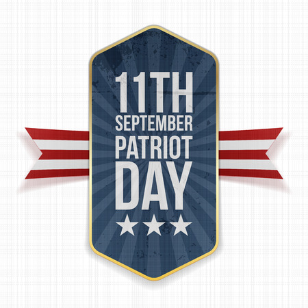 patriot: Eleventh September. Patriot Day Label with Ribbon