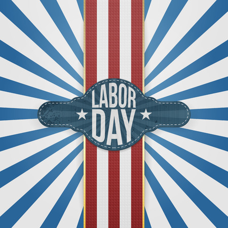Labor Day Badge and Ribbon on striped Backround