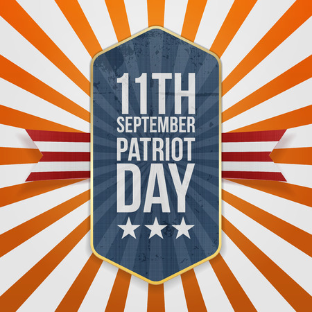 Eleventh September. Patriot Day Badge with Ribbon