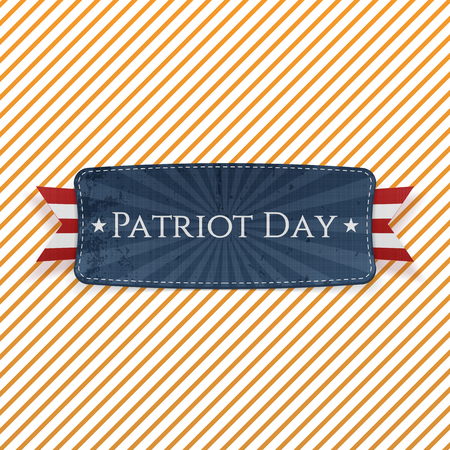 patriot: Patriot Day Emblem and Ribbon on striped Background