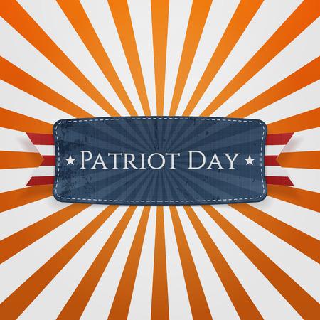 patriot: Patriot Day Badge and Ribbon on striped orange Background