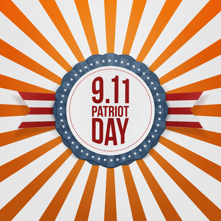 11th: Patriot Day round Badge with Ribbon. Vector Illustration