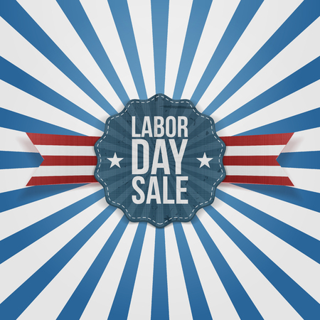 Paper Card Template with Labor Day Sale Text. Vector Illustration
