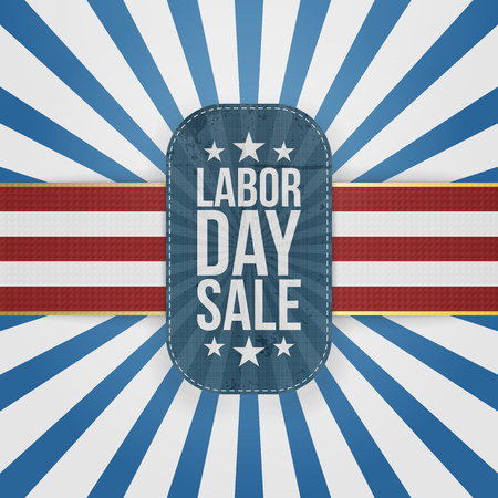 Labor Day Sale patriotic Badge with USA Colors. Vector Illustration
