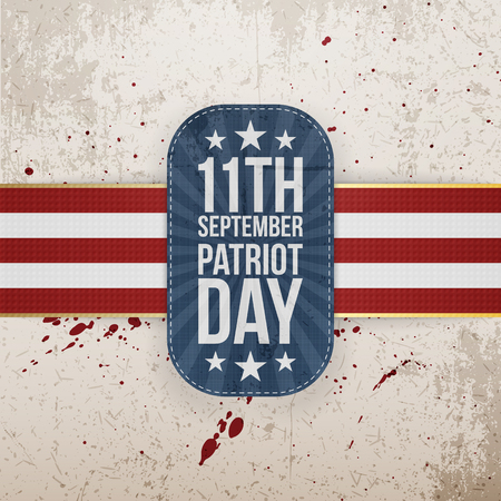 11th: Patriot Day 11th September national Tag on grunge Background. Vector Illustration Illustration
