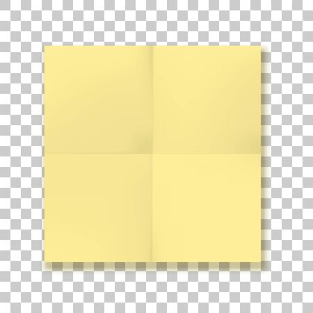 Folded square yellow Paper Sheet
