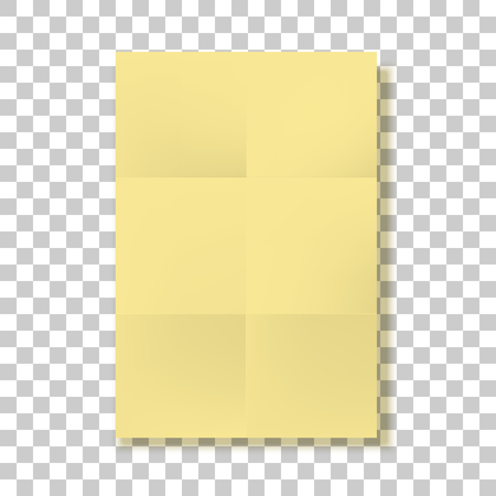 chit: Yellow folded Paper Page blank vector Mockup