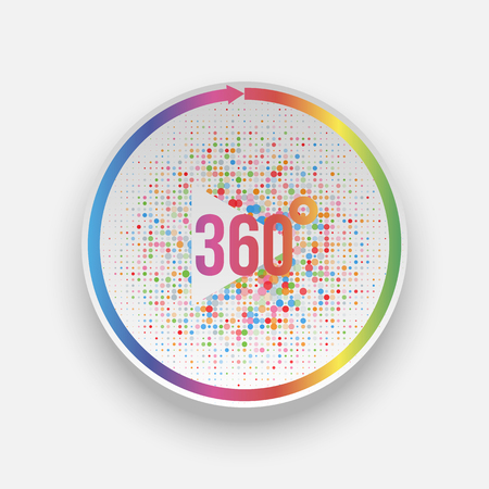 Colorful 360 Degrees play Button with Arrow