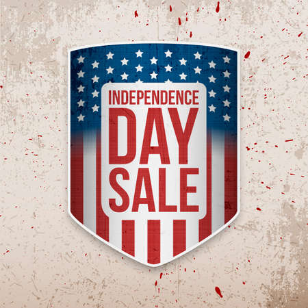 nationalism: Independence Day Background with USA Flag Shield. Vector Illustration