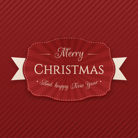 paper note: Vector Merry Christmas greeting Badge
