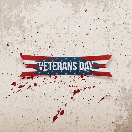 Veterans Day american greeting bent Ribbon Illustration