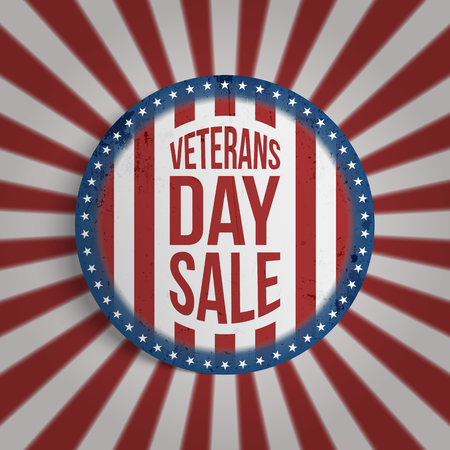 Circle Banner with Veterans Day Sale Text. Illustration