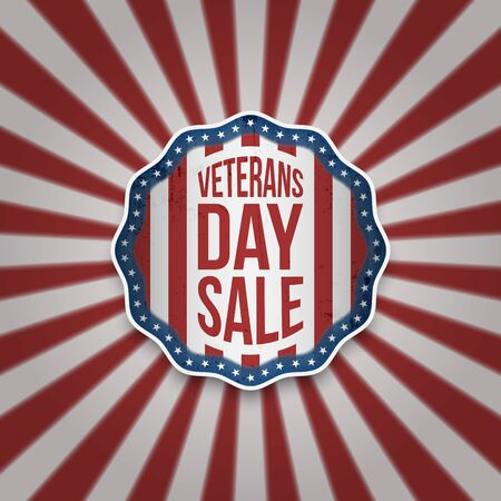 Veterans Day Sale American Emblem with Text vector illustration.