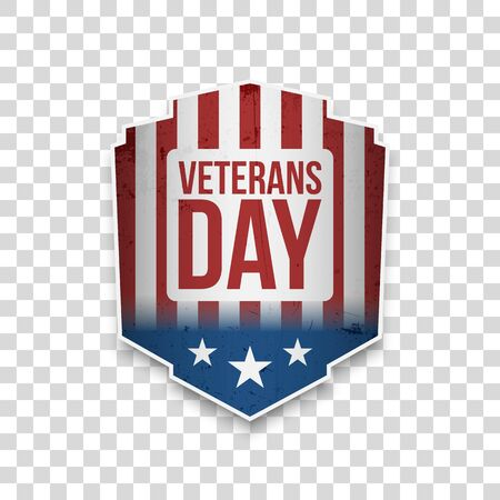 Veterans Day greeting Banner with Text vector illustration.