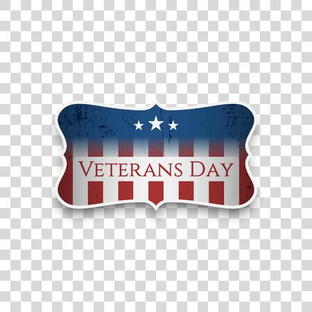 Veterans Day greeting Sign with Text vector illustration. Çizim