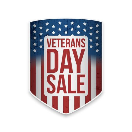 Veterans Day greeting shield with text vector illustration.