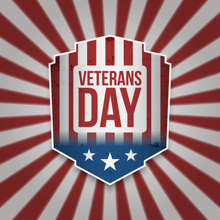 Vintage Banner with Veterans Day Text