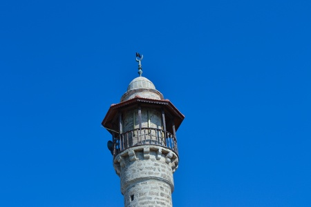 View of a mosque minaret in the blue sky,Tel Aviv,Israel