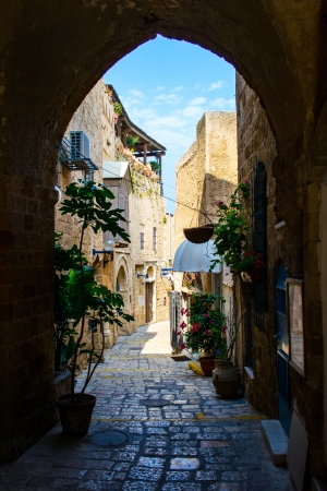 The old narrow small streets of Jaffa,Israel,historic building Stock Photo