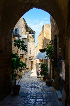 jaffa: The old narrow small streets of Jaffa,Israel,historic building Stock Photo