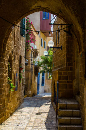 The old narrow small streets of Jaffa,Israel,historic building photo