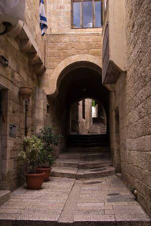 Old city of Jerusalem.Historical narrow streets. photo