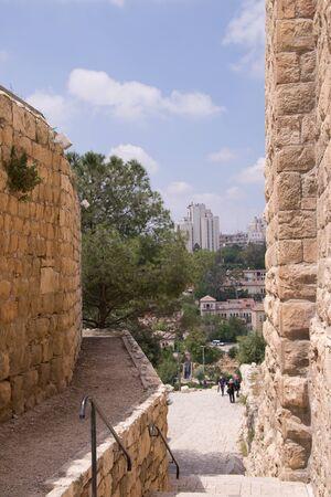 Old city of Jerusalem.Historical narrow streets. photo