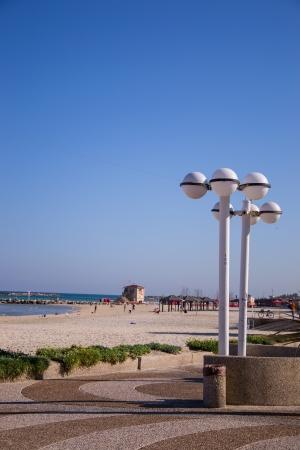 View of Tel Aviv beach in sunlight day Stock Photo