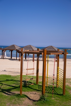 View of Tel Aviv beach  and a children  playing part Stock Photo