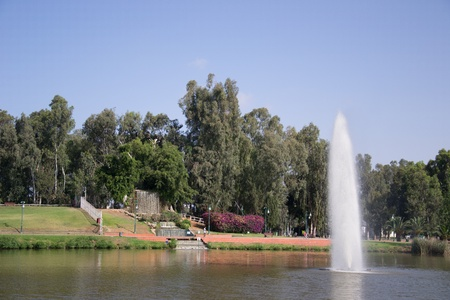 Leumi park setting with its waterfalls and fountainIsrael