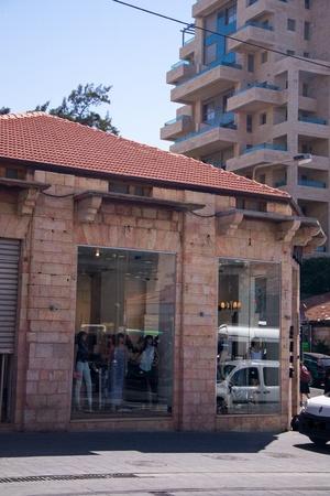 hebrew script: Jaffa street in Jerusalem,shop store,,Israel Editorial